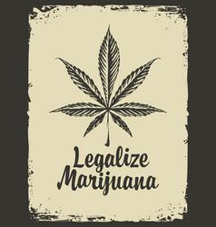 Legalize marijuana retro banner with hemp leaf vector