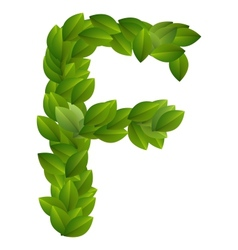 Letter F of green leaves alphabet vector image