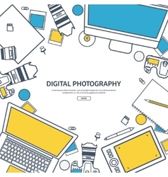 Line artPhotographer equipment on a table vector image