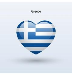 Love Greece symbol Heart flag icon vector