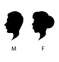 male and female wc head silhouette signs vector image