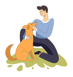 male sitting with domestic animal dog pet and vector image