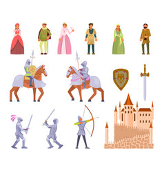 Medieval knight icon set flat vector