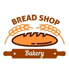 Natural organic bread icon with wheat rolling pin vector