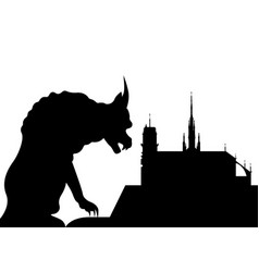 notre dame de paris and gargoyle france paris vector image
