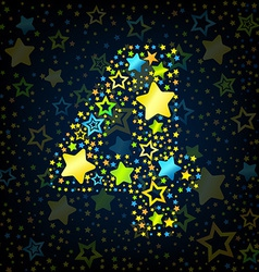 Number 4 cartoon star colored vector image