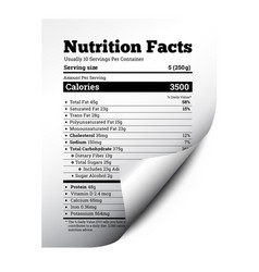 Nutrition facts label design with page curl vector