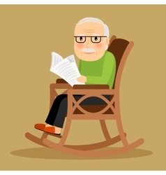 Old man sitting in rocking chair and newspaper vector
