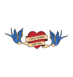 old school tattoo emblem label with swallow heart vector image