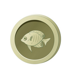 Olive-colored coin with image a fish vector