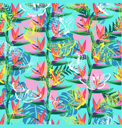 pattern with bird paradise flower vector image