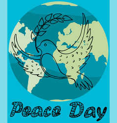 Peace day poster with black outlines dove vector