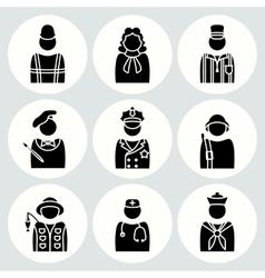 People profession icon set Judge painter vector