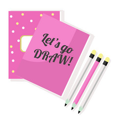 pink notepad sketchbook and pencils vector image