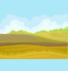 Plowed field in hills on vector