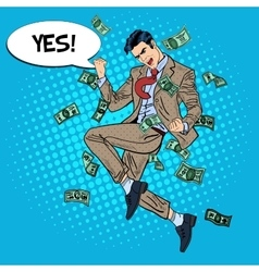 Pop Art Successful Businessman Jumping with Money vector image