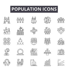 Population line icons signs set outline vector