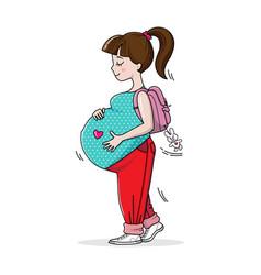 Pregnant teenage girl on walk vector