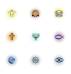 Religious faith icons set pop-art style vector image vector image