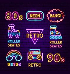 retro neon label set vector image