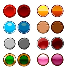 Round game buttons back and icons vector image