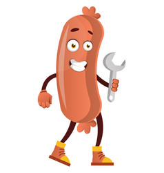 sausage with wrench on white background vector image
