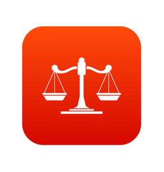 scales of justice icon digital red vector image
