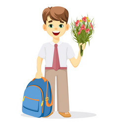 Schoolboy with backpack and bouquet of flowers vector