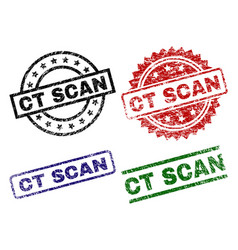 Scratched textured ct scan seal stamps vector