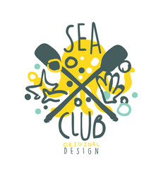 Sea club logo design summer travel and sport hand vector