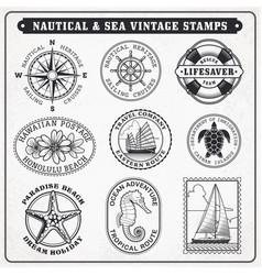 sea journey vintage stamps 2 vector image