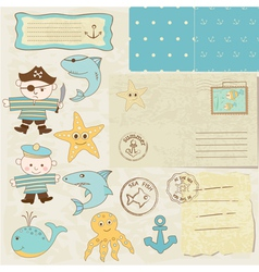 sea scrapbook elements vector image