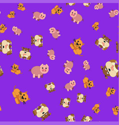 seamless pattern of dogs pig and cat vector image