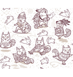 seamless pattern with foxes characters in outline vector image