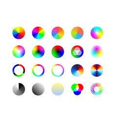 set color wheels palette rgb ryb cymk system vector image