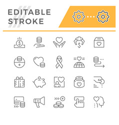 set editable stroke line icons charity vector image