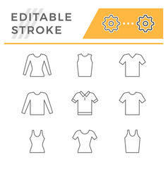 set line icons t-shirt singlet long sleeve vector image