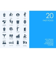 Set of BLUE HAMSTER Library fast food icons vector