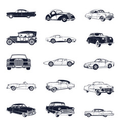 set of old vintage car isolated on white vector image