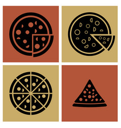 Several style of pizza icons set vector