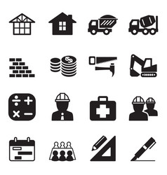 silhouette construction icon set vector image