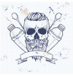 sketch barman skull vector image