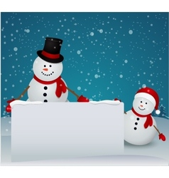 snowman family in Christmas winter scene with sign vector image