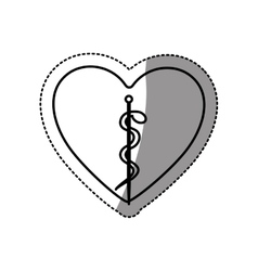 Sticker contour in heart shape with health symbol vector