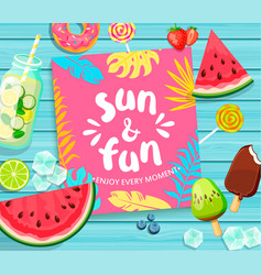 Sun and fun lettering on blue wooden background vector