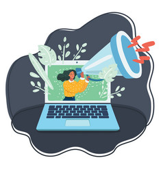 Tiny woman with megaphone on computer monitor vector