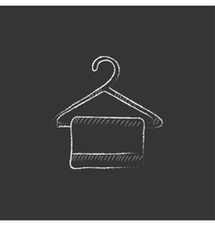 Towel on hanger Drawn in chalk icon vector