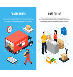 two vertical mail isometric banner set vector image