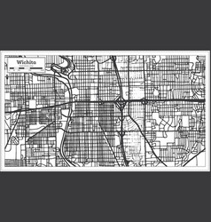 Wichita kansas usa city map in retro style vector