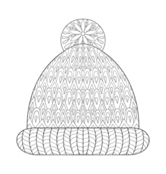 Winter knitted cap mittens vector